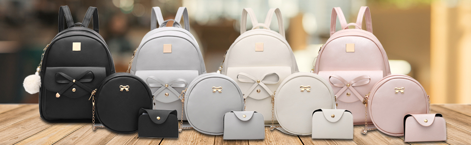 Women's Backpack 3-pieces Fashion PU Leather Shoulder Bags Fashion Ladies Travel Bookbag
