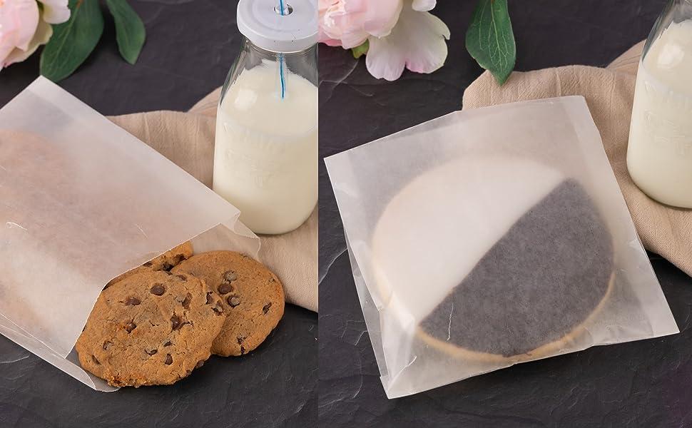 "Paper Sandwich Bags Bulk Wax Paper (200 Pack) 7"" x 6"" x 1"" Wet Wax Paper Bags - Food Grade Grease"