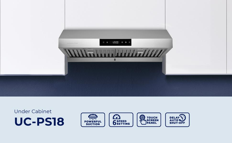 Hauslane Chef PS18 Kitchen Ventilation Fan, Stainless Steel Range Hood, Powerful Stove Fan