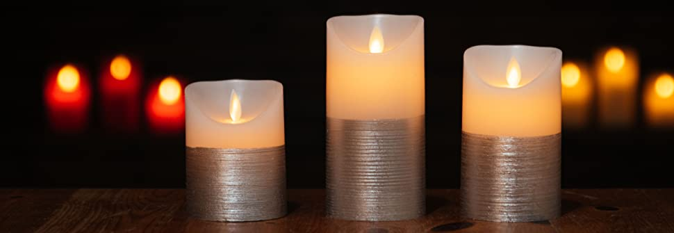 silver battery candles