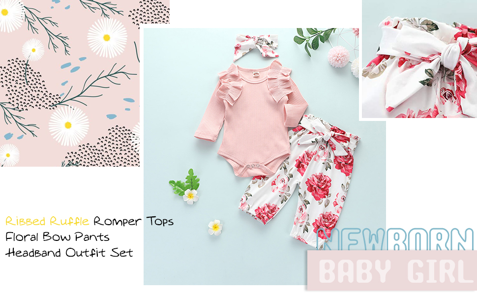 3Pcs Baby Girls Winter Clothes Kint Ribbed Ruffle Romper+Floral Pants+Headband Outfit Sets