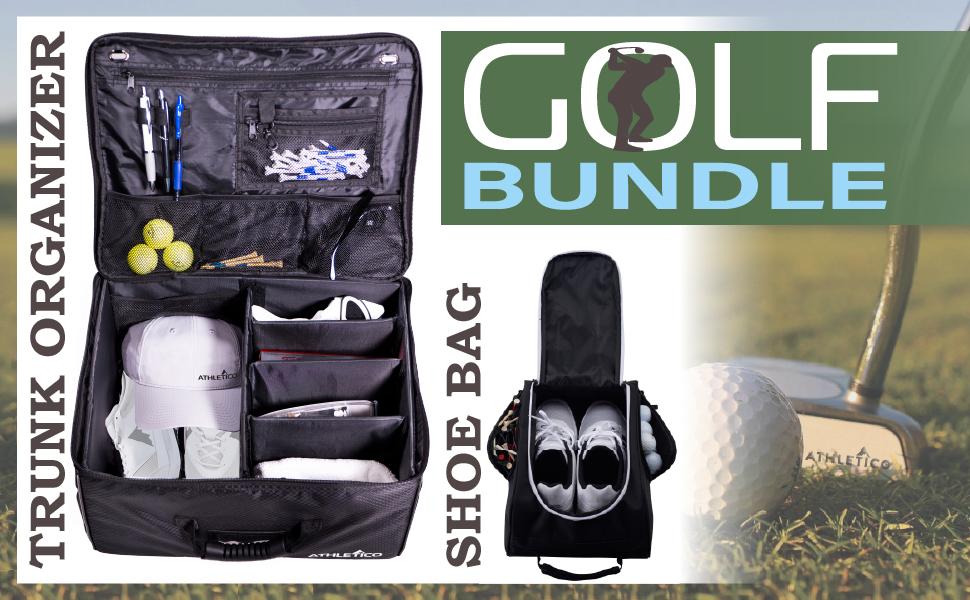 Athletico Golf Trunk Organizer and Shoe Bag 2 piece Golf Bundle