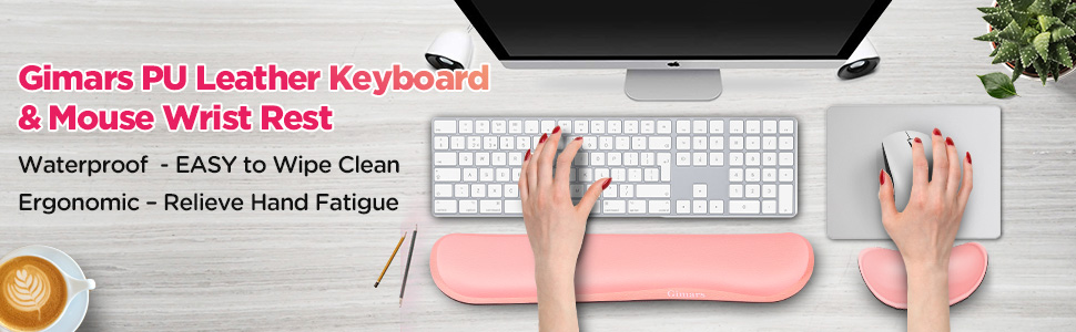 Durable Mac Computer Pain Relief Laptop Comfortable Enlarge Mouse Wrist Cushion Support for Office Gimars Upgrade Cleanable PU Leather Keyboard Wrist Pillow Rest Pad Pink