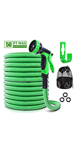 ohuhu expandable garden hose water hose flexible hose 50 ft spray nozzle hose holder hanger