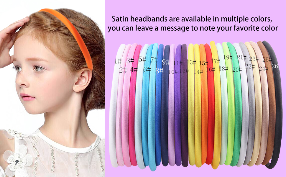 5//10X Candy Plastic Covered Satin Headband Hair Band for Baby Girl DIY Craft  HK
