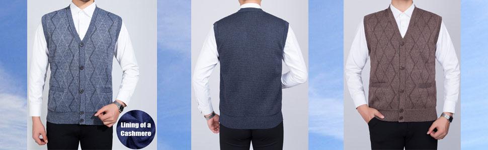 Men's Lightweight V-Neck Button Down Knitted Sweater Vest Mens Sleeveless Cardigan Waistcoat