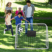 a family play soccer goal
