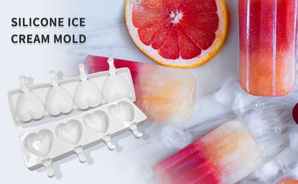 4 large love ice cream molds