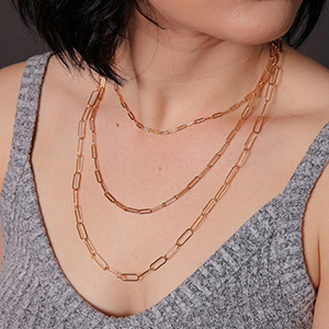 gold paperclip link chain necklace