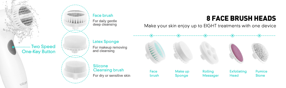 8 cleansing brush heads