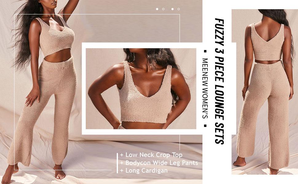 Meenew Women's 3 Piece Lounge Set Low Neck Crop Top High Waist Long Pants Open Front Long Cardigan