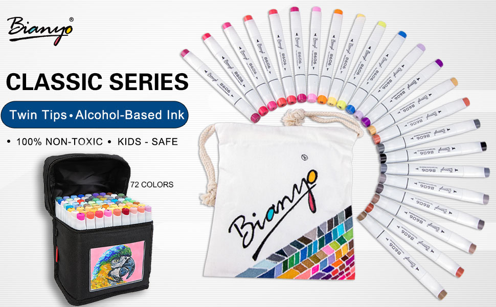 Bianyo Markers | Twin Tips - Alchohol Based Ink (100% Non Toxic, Kids-Safe)