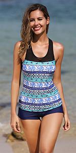 2 two piece women athletic tankini swimsuit with shorts sporty bathing suit swimwear boyleg bottom