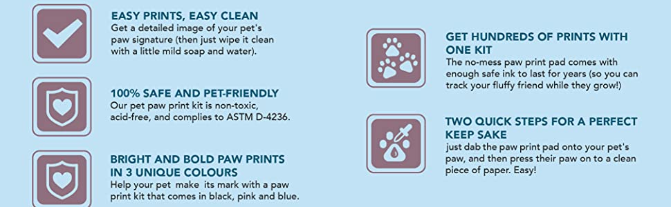 Red Easy-Clean Pet Paw Print Kit Get Hundreds of Prints from One Low-Cost Paw Print Kit 100/% Safe and Pet-Friendly No-Mess Paw Print Pad with a Choice of THREE Different Colours