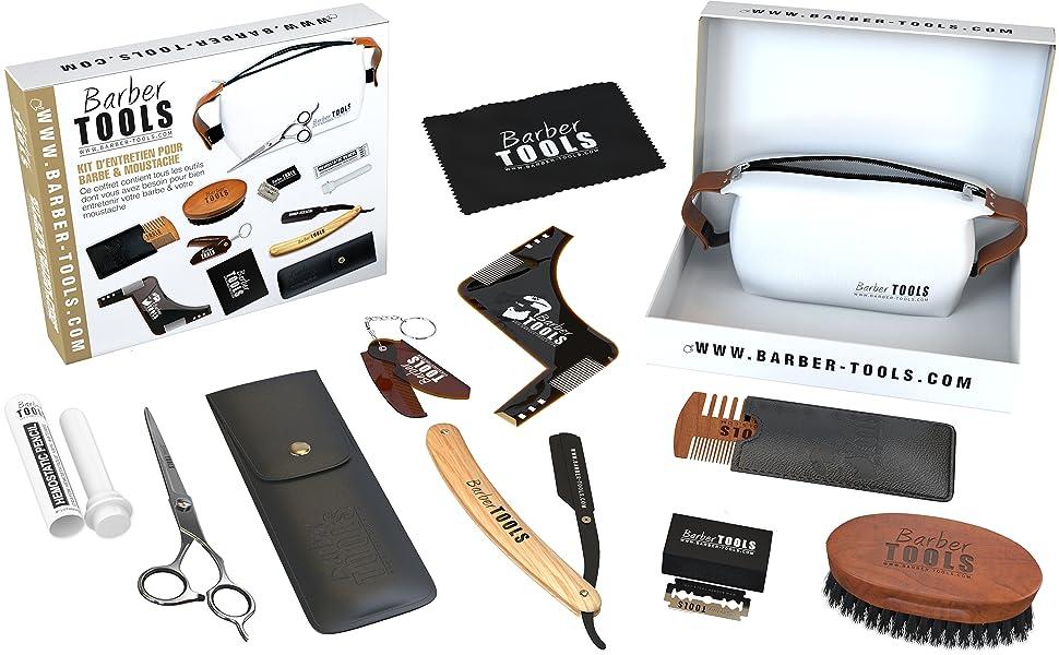 ✮ BARBER TOOLS ✮ Kit/Set/Estuche de arreglo y cuidado de la barba y afeitarse: Amazon.es: Belleza