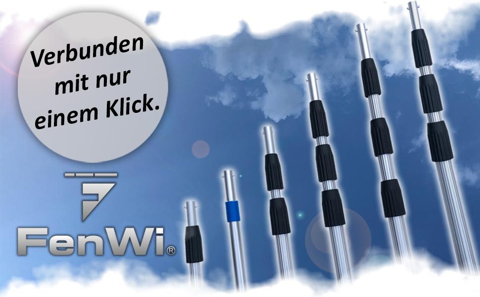 FenWi Nachr/üst-Set f/ür Profi ALU Teleskopstange in Wasserteleskopstange mit Schlauchanschluss Waschb/ürste /& Kombi-Fensterwischer wasserf/ührend