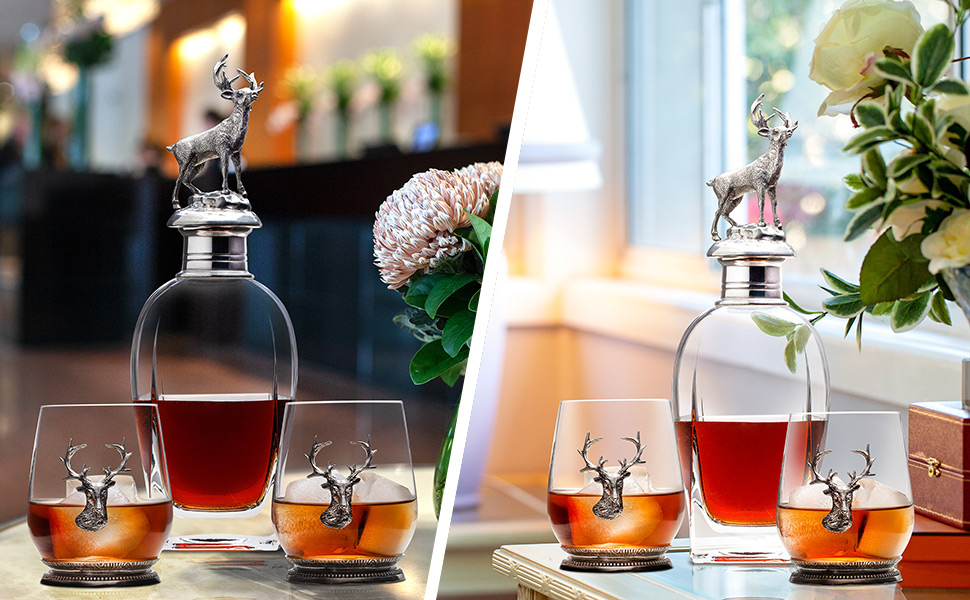 crystal whiskey decanter set and 4 glasses, personalized antique pewter whiskey decanter gift set