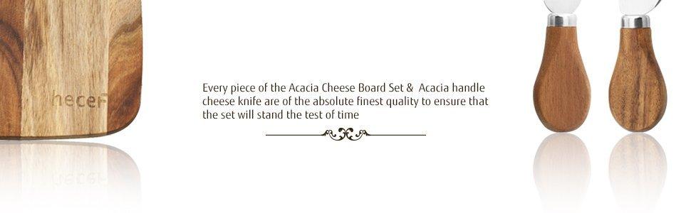 a Acacia Wood Cheese Plate & a Cheese Knife & a Cheese Fork