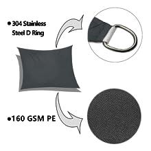 stainless D-ring corner waterproof sun shade sail