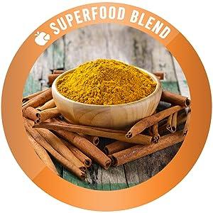 superfood cinnamon black pepper ginger cardamom golden milk powder tea latte turmeric curcumin 95