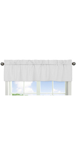 Grey and White Polka Dot Window Treatment Valance for Watercolor Floral Collection