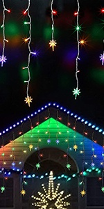 Icicle Lights with Bethlehem Star