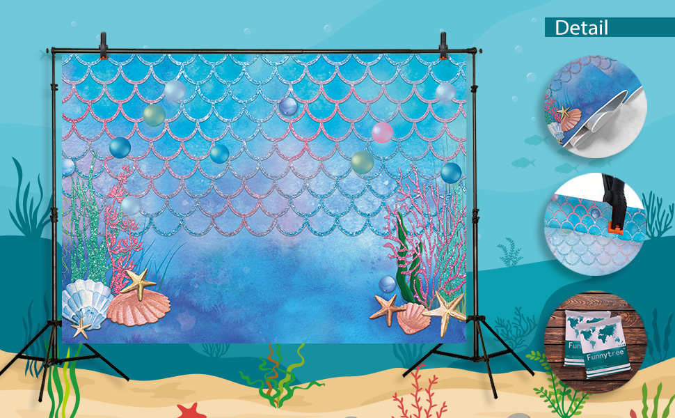 Funnytree Summer Little Mermaid Scales Photography Backdrop