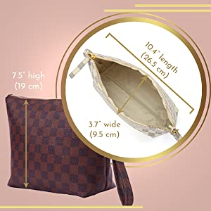 clutch purse large travel cream checkerboard makeup make up bag toiletry cosmetic pouch big women