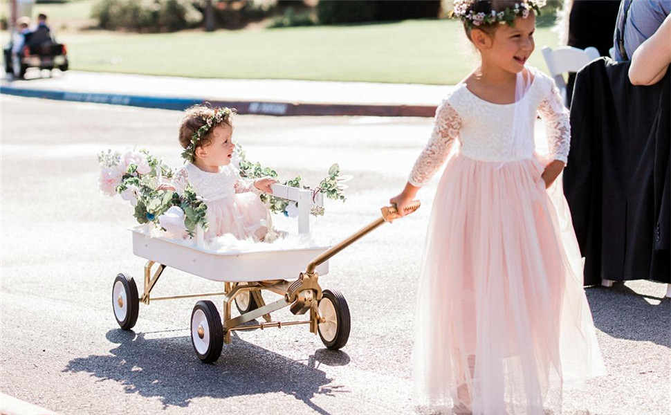 2Bunnies Girl Peony Lace Back A-Line Straight Tutu Tulle Party Flower Girl Dresses