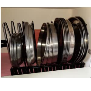 adjustable pan tawa and pot rack dish storage lid holder stand plate organiser stand for kitchen