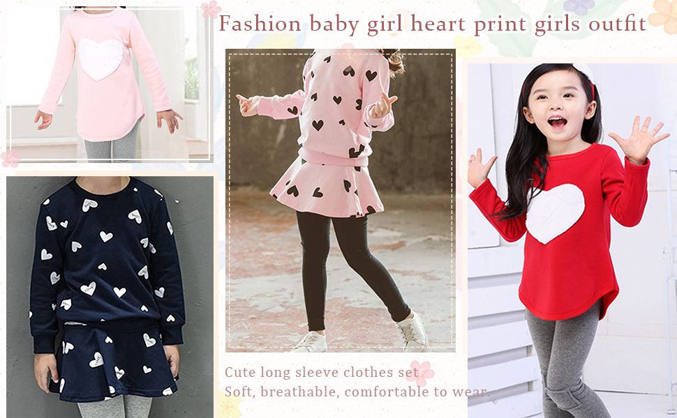 fashion baby girl heart print girls clothes