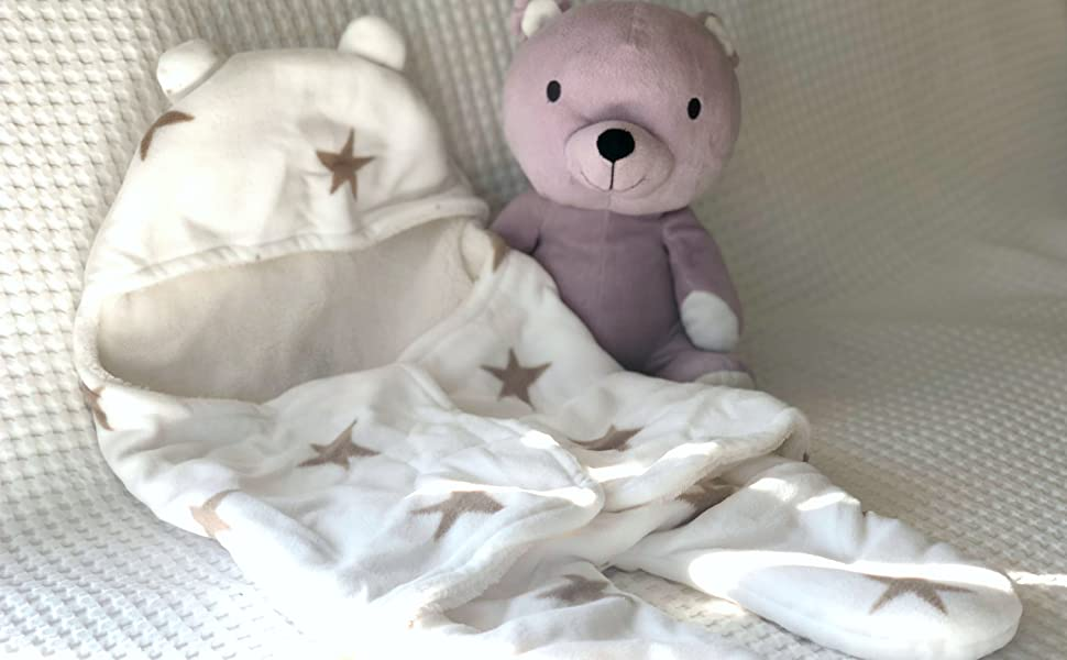 baby swaddle blanket unisex soft wrap white natural stars brown cream split leg warm light car seat