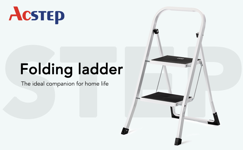 ACKO Step Ladder 2 Step -Folding Step Stool for Adults with Handgrip Anti-Slip and Wide Pedal