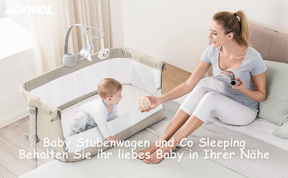 Beistellbett Baby und Freistehendes Kinderbett ADOVEL 2 in 1 Babybett Beistellbetten f/ür Boxspringbett Baby Bett mit Rollen Musik und Spielzeug Matratze