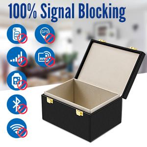 Kolaura Keyless Go Schutz Autoschlüssel Box Mit Sicherer Ledertasche Rfid Signal Blocker Box Strahlungsschutz Diebstahlsicherungssperre Für Telefonkarten Anrufe Und Rfid Auto