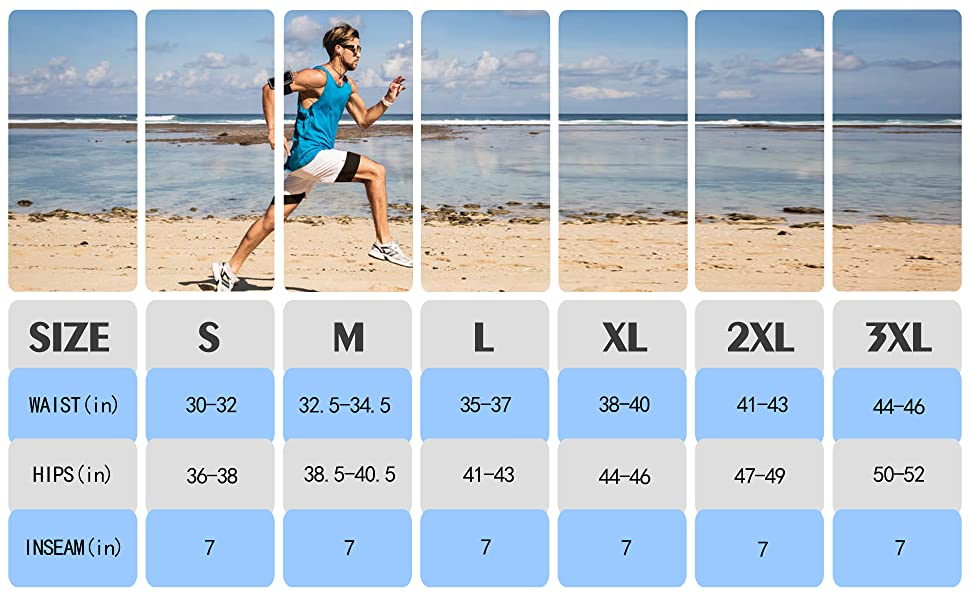 mens 2 in1 running shorts size chart