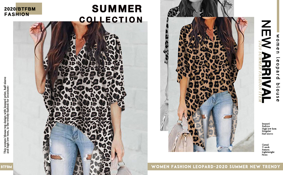 Leopard High Low Print Asymmetrical US V Neck Blouse Women Tops Hem Shirt