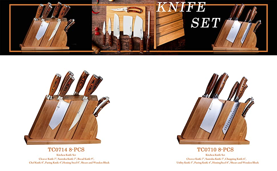 kitchen knives set 8-pcs kitchen set knife block set kitchen knives block