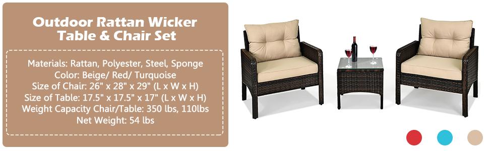 Patio Furniture Set 3 Pieces Conversation Set Rattan Wicker Sofa Set Outdoor Chairs Set