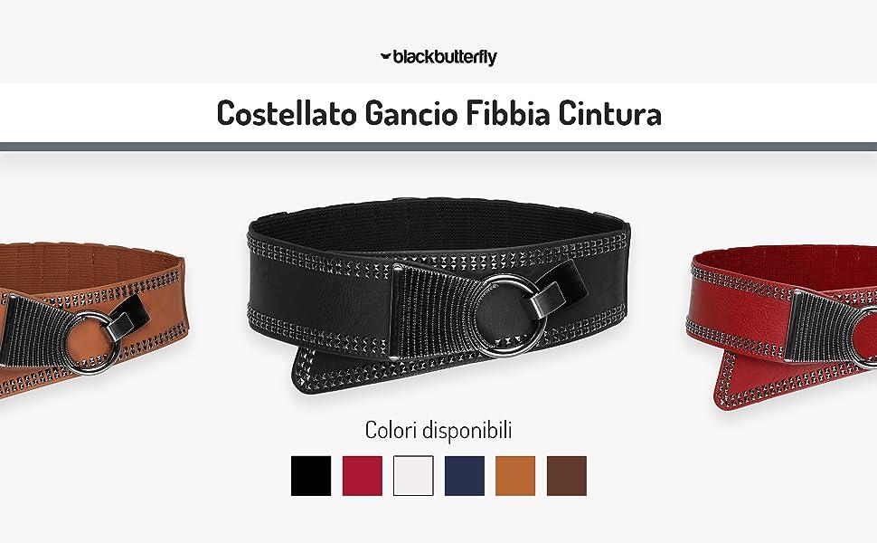 BlackButterfly Largo Elastico Allungare Metallo Costellato Gancio Fibbia Cintura