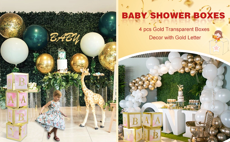 LOVE MEI 54 Pcs Gold Birthday Party/Baby Shower Blocks With Ballons Decorations Set Birthday Boxes Gender Reveal Party Supplies Bridal/,Wedding DIY Name 4pcs White Transparent Boxes with A Events Or Any Occassion. Parties Z Letters