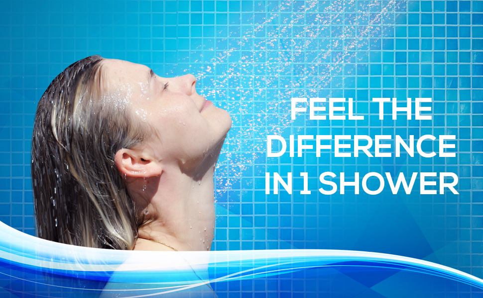 lady showering filtered shower head