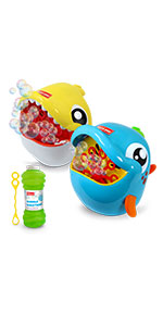 2 pack dolphin and shark bubble machines for ages 3+ summer bubble activity. Refill bottle included