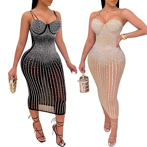 PORRCEY Women's Sexy Deep V Neck Backless Rhinestone Dresses Sexy Long Mermaid Evening Dress