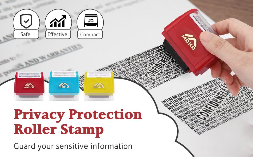 Large Rouleau Tampon 3 encre Recharges Identité ID Carte de Crédit Billets theft protection