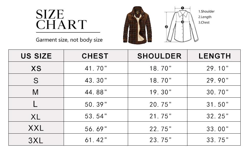 Size Chart of Flygo Men's Winter Warm Flannel Plaid Fleece Shirt Jacket