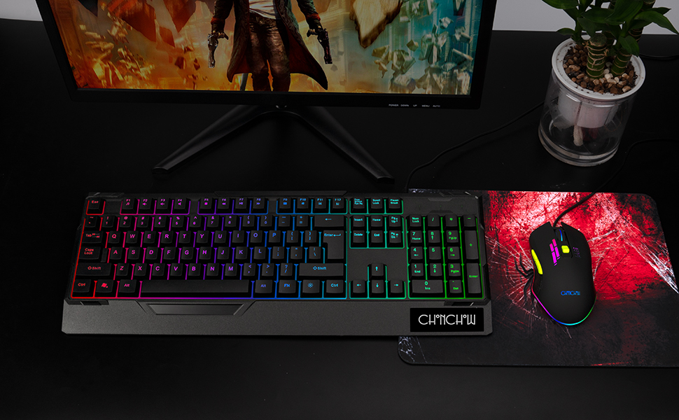 gaming keyboard and mouse combo rgb tkl tenkeyless 60% compact backlit rainbow usb ps4 xbox pc cheap