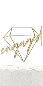 gold engaged geometric cake topper