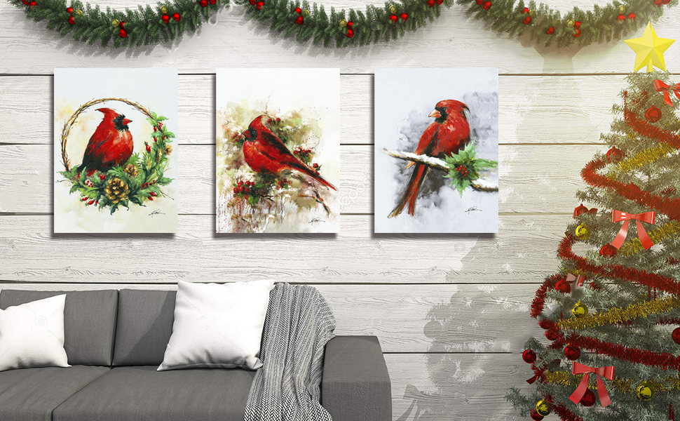 Christmas Cardinals on Snow Branch with Hand-painted oil painting
