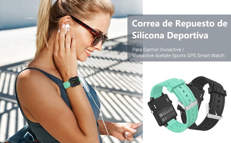 MoKo Garmin Vivoactive Correa de Reloj, Suave Silicona Reemplazo Watch Band para Garmin Vivoactive/Vivoactive Acetate Sports GPS Smartwatch - Azul ...